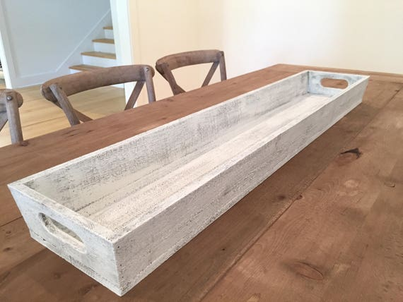 """Tray - Large 46"""" - Wooden Long Tray l Table Centerpiece l Trough, Wooden Planter, Shabby Chic, Farmhouse Style Tray"""