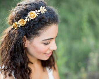 Golden Rose and Pearl Crown -  Bridal or Special Occasion Headband, Flower Crown, Boho Headband, Halo, Wedding headpiece