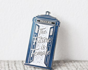 The Future is Female Tardis Pin - Gold Plated Hard Enamel Pin Knitters Flair