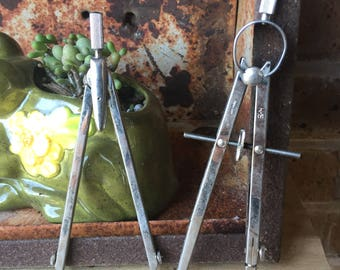 2 Vintage Drafting Compasses with a Koh-i-noor Lead Refills Box containing a Few Lead Refills