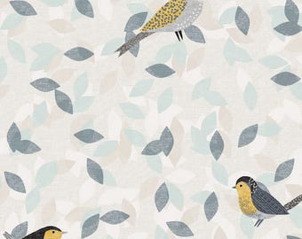 Dashwood Studio Birdsong Yellow and Grey Bird Print Cotton Quilting and Patchwork Fabric