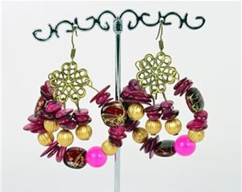 Earrings Pearl and shells