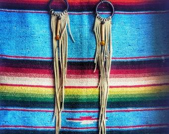 Handmade brain tanned deer Leather tribal gypsy fringe hoop dangle earrings plugs