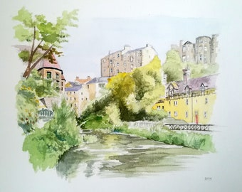 Dean Village, Edinburgh. Watercolour drawing, 406 x 305 mm, 300 gsm paper.