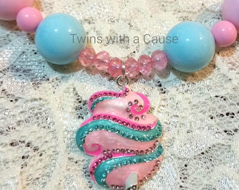 Bubblegum bead necklace, Accessories for girls, Couture  cotton candy Carnival necklace, Birthday necklace