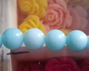 1 green Amazonite beads 8mm diameter blue reflections, 1 mm hole