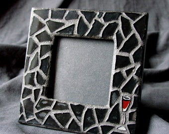 SALE... Regular Price 24.00... Stained Glass Mosaic Frame - Wine Now, Whine Later