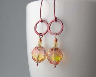 Pink Lemonade Copper Small Hoop Earrings with Free USA Shipping