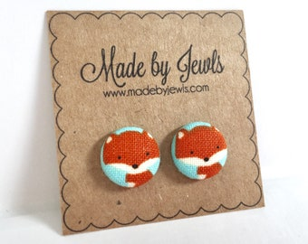 Fantastic Mr Fox Handmade Foxy Fabric Covered Hypoallergenic Button Post Stud Earrings 10mm