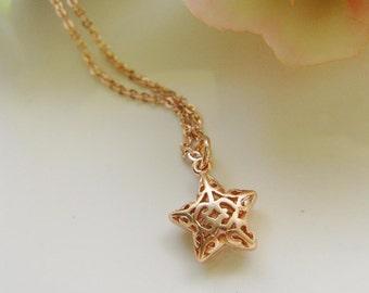 Rose Gold Necklace, Filigree Star, Puffy Star, Modern, Star Pendant, Star Jewelry, Minimalist, Star Charm, Redpeonycreations