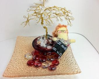 Handmade wirewrapped bonsai tree sculpture with teacher doll centerpiece teacher gift