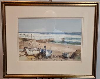 Edward Ashton Cannell (1927 - 1994) watercolour Sennen Cove Cornwall Manx artist small art new home teacher peaceful