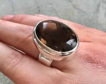Smoky Topaz Ring, Natural Topaz, Statement Ring, Vintage Ring, Smoky Diamond, Solid Silver Ring, Huge Ring, Pure Silver, Diamond Cut, Smoky