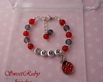 Personalized Red Ladybug Charm Bracelet - Kids/Girls/Ladies/Women - Christmas/Holiday - With an Elegant Gift Box