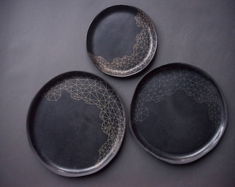 GEOMETRIC pattern BLACK on black gold silver bronze handmade stoneware plate, matte glaze, natural nordic, dinner/cake/salad plates
