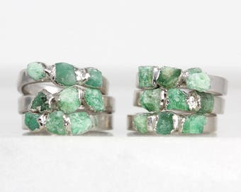 Smaragd Kristallring | Roh Smaragd Ring | Mai Birthstone Ring | echte Smaragd Geburtsstein | Roh Smaragd Schmuck | Mai Geburtsstein Schmuck