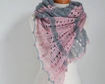 Lace crochet shawl, Grey, Pink, P524