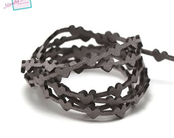 """1 m cord strap perforated suede """"bundle"""" 6 x 1, 8 mm, grey"""