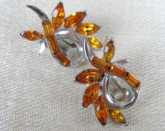Vintage 1950s Amber Rhinestone Earrings 50s Sparkly Clip Earrings by PELL