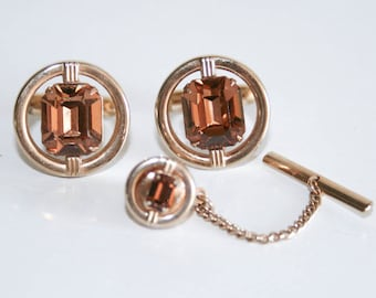 Swank Gold Amber Crystal Cufflinks and Tie Tack