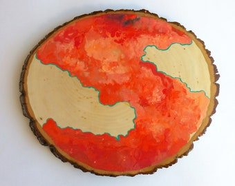 Artifacts of Joy - Marbled Red Artifact Abstract Painting Wood Slice - art - Lauren Strom - Modern Landscape