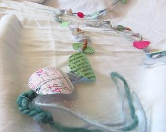 Embellished Paper Garland - Sewn yarn and paper garland