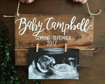 Baby reveal wood sign - baby announcement - pregnancy announcement - new baby - parents to be - wood sign - baby nursery - reveal wood sign