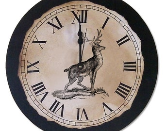 "Rustic Clock | Rustic | Antique | Vintage | Deer Clock | 12"" x 12"" 