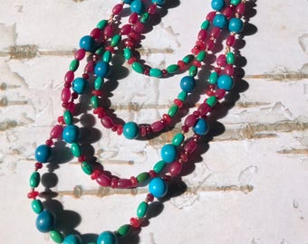Fun & Flirty Turquoise Agate Garnet Necklace