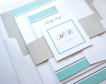Glitter Wedding Invitations, Mint Wedding Invitation, Elegant Wedding Invitation, Silver Glitter, Glam Wedding Invitations - SAMPLE SET
