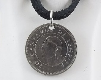 Small Honduras Coin Necklace, 20 Centavos, Mens Necklace, Womens Necklace, Coin Pendant, Leather Cord, Birth Year, 1999