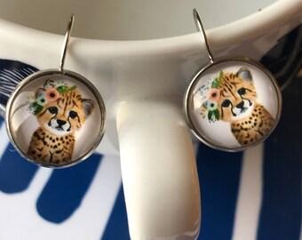 Tiger cub glass cabochon earrings - 16mm