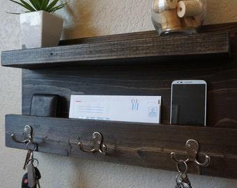Rustic Entryway Organizer with Shelf
