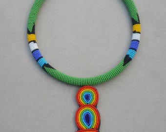 Long pendant necklace, Seed bead jewelry, original bead necklace, beadwork