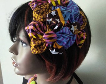 Ankara fascinator/headband with button earrings
