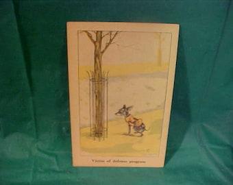 Vintage 1920's Artist Signed Dog Humour Postcard by Zito  Victim of The Defense Program  Unused