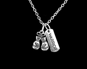 Boxing Gloves Necklace, Warrior Necklace, Survivor Necklace, Best Friend Necklace, Sister Mom Mother's Day Gift Necklace