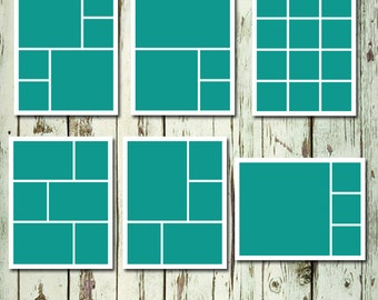 Storyboard Set of 6 CollageTemplate Layered PSD 11x14 Photo Collage Template