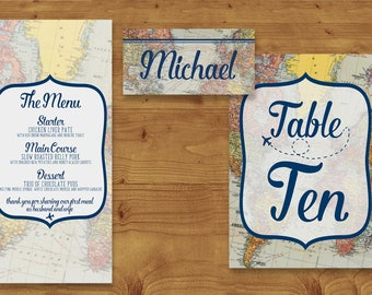 Vintage Travel and Map Place Cards, Table Numbers, Menu Cards - Destination Wedding - Table Name - Name Card - Wedding Stationery