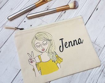 Personalised Makeup Bag - Personalized Zipper Pouch - Custom Zipper Pouch - Make up bag - Gift for her - Teen Gift - Birthday Gift