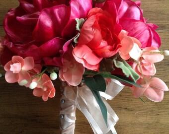 Peony bridal bouquet silk bridal bouquet hot pink and coral bouquet destination wedding garden wedding country wedding orchid bouquet