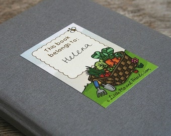 Garden Greens Book Stickers - set of 6 adhesive labels, ex-libris library bookplates, full colour, recycled