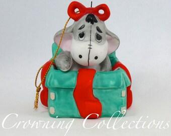 Disney Eeyore in a Christmas Present Porcelain Ornament Sri Lanka Bisque Ceramic Winnie the Pooh Donkey Figurine  Vintage