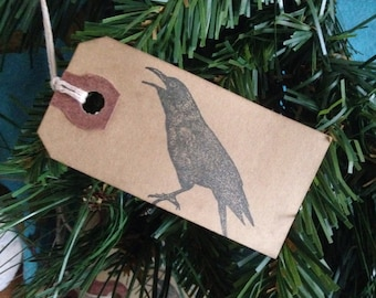 Small Black Crow Stamped Hang Tags  Primitive Coffee Stained Gift Tags Strung Manila Hang Tags