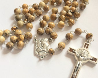 Brown Rosary for Men, Picture Jasper, St. Benedict Crucifix, Traditional Five Decade, Birthday Gift, Anniversary Gift