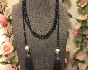 Black beaded tassel long wrap necklace