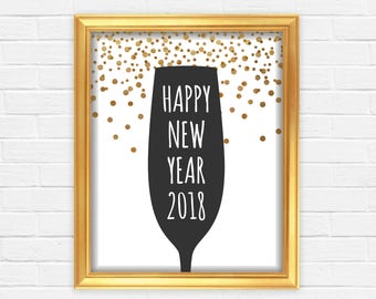 New Years Eve Decor, New Years Eve Party, New Years Eve Print, New Years Wall Art, Printable New Years, 2017 Party Decor, Gold Glitter,