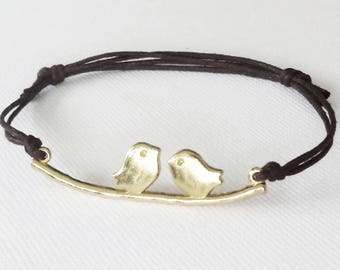 Love Birds Bracelet, Gold Anklet, Bird Bracelet, Animal Jewelry, Gifts For Her, Nature Inspired Jewelry, Bridesmaid, BFF, Best Friend Gift