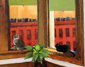 Edward Hopper Cat Art Print, Matted, Gifts For Friends, Cat Gifts, Cat Wall Art,  Giclee Art Print, Deborah Julian