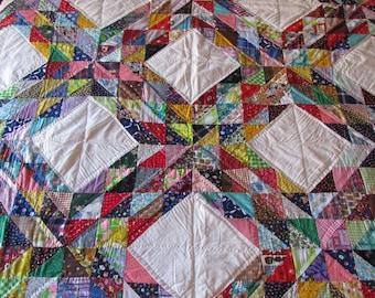 Vintage Ocean Waves Quilt, Antique Quilt, Circa 90's Quilt, Hand Stitched Quilt, Hand Made Quilt, Farmhouse Quilt